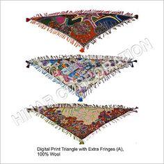 Digital Print Wool Triangle Scarves