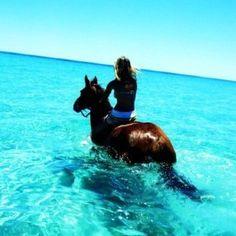 Amazing and beautiful photo of a girl riding a hors… Ocean view horseback riding. Amazing and beautiful photo of a girl riding a horse in the ocean. Vida Animal, Horse Love, Horse Girl, Beach Bum, Phat Beach, Blue Beach, Horse Riding, Beautiful Horses, Majestic Horse