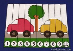 : Car Number Sequence Puzzle Pinned by – Please Visit ht.ly for all our pediatric therapy pins Early Learning Activities, Preschool Education, Creative Activities, Preschool Curriculum, Educational Activities, Activities For Kids, Kindergarten, Preschool Ideas, Homeschool