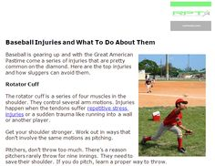 http://raritanpt.com/baseball-injuries-and-what-to-do-about-them - Baseball is gearing up and with the Great American Pastime come a series of injuries that are pretty common on the diamond. Here are the top injuries and how sluggers can avoid them.