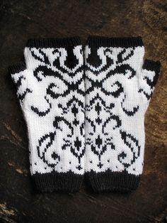 Tristessa fingerless mitts, palms down by chronographia, via Flickr