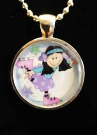 Skater Girl with Black Hair Necklace  Silver Circle 1 inch in diameter with design in center on 16 inch color Ribbon or 16 inch Ball Chain.  Please select Ribbon or Chain below.