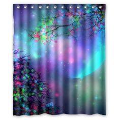 Beautiful Moon Shower Curtain- Hipster Purple Pink Mystical Blue Tree Moon Bathroom Shower Curtains Polyester Waterproof 60 Wide x 72 High    How to Incorporate Purple Bathroom Accessories  Choosing a color scheme for the bathroom should consider the style, ambiance and energy you are striving to attain in the interior. Purple bathroom decor is becoming a popular color choice in most homes. The color purple provides a calm, soothing and striking design.