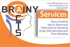 If you can dream it, we can help you achieve it! We provide numerous services to improve your performance and develop your talents.  Contact us for more information on 084 630 1874 #brainyacts #services #newyear