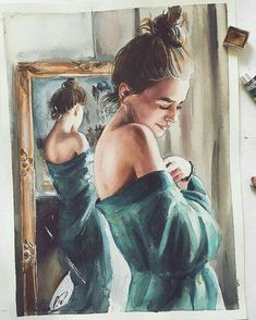 ✔ Aesthetic Drawing Sketches We Heart It Watercolor Portraits, Watercolor Art, Drawing Sketches, Art Drawings, Illustration Art, Illustrations, Guache, Aesthetic Drawing, Wow Art