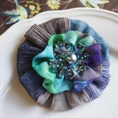 Wedding corsage dark turquoise Gauze Beaded Flower Corsage Brooch - FREE SHIPPING. $10.00, via Etsy.