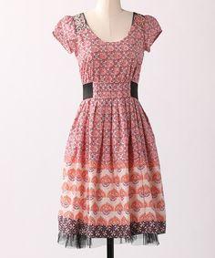 waist is a little weird but fun ideas :: Red & Orange Vintage Find Dress