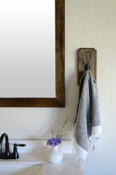 Bathroom Hand Towel Holder, Hooks In Bathroom, Bathroom Ideas, Towel Storage, Decorative Towels, Farmhouse, Wall Mount, Design, Towel Hanger