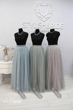 3b17122d57 Waterfall Rustic Grey Blue Green Palette Long Tulle Skirt Casual Floor  Women, Tulle Skirt Bridesmaids Tulle Skirt, Wedding Long Tulle Skirt
