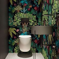 40 Cozy Small Powder Room Design Ideas - Home renovation 2019 , Cloakroom Toilet Downstairs Loo, Small Wc Ideas Downstairs Loo, Wallpaper Toilet, Understairs Toilet, Small Toilet Room, Powder Room Design, Tile Panels, Toilet Design, Decor Interior Design