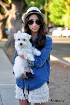 denim, crochet/lace shorts, a fedora, and a white fluffy dog... um, yes please. totally my style!