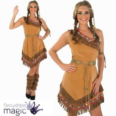 RED INDIAN SQUAW LADIES POCAHONTAS NATIVE AMERICAN TIGERLILY FANCY DRESS COSTUME…