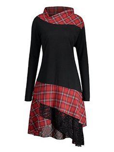 Plaid Patchwork Irregular Hem Dresses