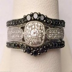 14kt White Gold Past,Present,Future Black Diamond with Ring Guard Solitaire Enhancer (0.75ctw) by RG&D