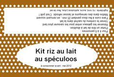 riz au lait speculoos Sos Cookies, Gifts For Cooks, Cookie Jars, Mason Jars, Homemade, Cooking, Desserts, Tampons, Label