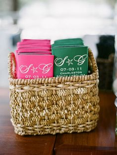 How presh! Koozies as the wedding favor! Maybe replace the starfish with a sailboat? Pink and Green, yes. #LillyPulitzer #SouthernWeddings