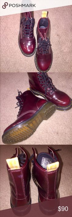 Woman's classic cherry red 1460 Dr. Marten's boots These shoes have only been worn once and are in close to perfect condition! Dr. Martens Shoes Combat & Moto Boots