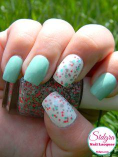 This pretty look was created using Kandeline glitter nail lacquer by Sidgra. Sidgra.com #nailpolish #glitternailpolish #manicure
