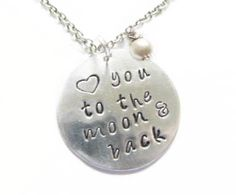 Hand Stamped Love you to the moon & back Silver Necklace