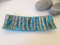 Fused glass dish inspired by bamboo in blue and cream by KoruGlassArt