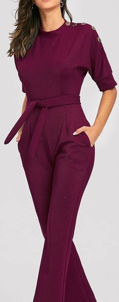 Slanted One Shoulder Wide Leg Formal Jumpsuit Burgundy Slanted One Shoulder Wide Leg Formal Jumpsuit Dressy Jumpsuit Wedding, Formal Jumpsuit, Backless Jumpsuit, Dresscode, Look Fashion, Womens Fashion, Fashion Design, Looks Chic, Rompers Women