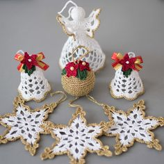Items similar to Christmas ornaments Crochet set of 6 White gold ornaments set Two bells White angel and 3 snowflakes Golden ball Winter wedding decor on EtsyGorgeous Christmas set of 6 crocheted ornaments. A Must Have for every home at Christmas! Crochet Christmas Decorations, Crochet Decoration, Crochet Christmas Ornaments, Christmas Crochet Patterns, Holiday Crochet, Crochet Snowflakes, Handmade Christmas, Christmas Crafts, Gold Ornaments