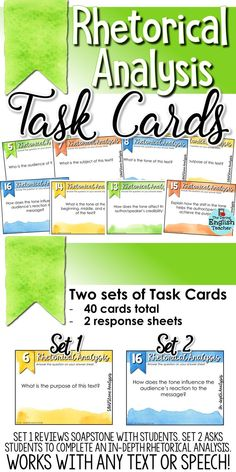 These rhetorical analysis task cards cover speaker, occasion, audience, purpose, subject, rhetorical devices, and more. Plus, these cards work with any piece of nonfiction text. #teachingrhetoricalanalysis #rhetoricalanalysisteachingideas #highschoolenglish #teachingrhetoric #rhetoric