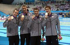 Gold! 4x100m Medley Relay: Brendan Hansen, Matt Grevers, Michael Phelps, Nathan Adrian