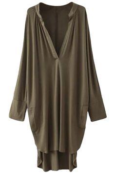 Women's V Neck Long Sleeve Loose Fit High Low Dress - OASAP.com