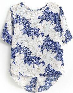 Blusa floral dobladillo curvo manga corta-Blanco y azul