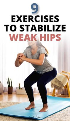 9 hip and glutes strengthening exercises for hip pain. These include bodyweight and resistance band exercises, to stabilize the hips and pelvic joints. If you have hip pain when running or sitting, or even lower back pain, these great exercises will stabilize your hips and activate your glutes and core #hipexercisesforpain #bandexercisesforhips #hippain #glutestrengtheningexercises