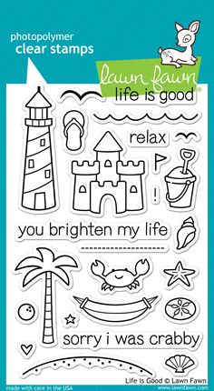 life is good - Lawn Fawn stamp set (with matching dies) $15.00