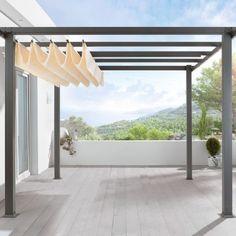Pergola, Aluminiumgestell und Polyester Dach, pulverbeschichtetes Aluminium, Dach: 100% Polyester Detailansicht