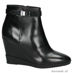 Dames Enkellaarzen - Via Roma Zwarte Enkellaarsjes met Sleehak CW439V93G