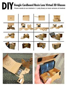 Highest quality and Cheap Assembling Google Virtual Reality Cardboard w/ Resin Lens Set - Khaki on sale