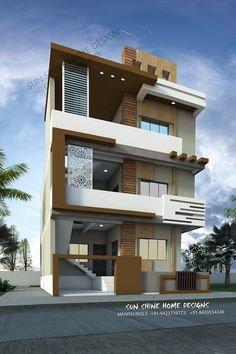 House design home design house plan home plan elevation garage plans with loft, loft plan 3 Storey House Design, Bungalow House Design, House Front Design, Modern House Design, Home Design, Design Ideas, Front Elevation Designs, House Elevation, Building Elevation
