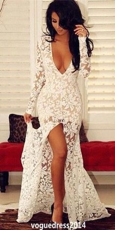 Sexy V-neck Long Sleeve Lace Prom Dresses, Side Slit Evening Dress,Floor Length Pretty Women Dresses,374