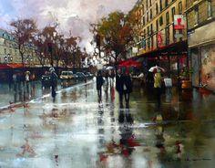 Gallery :: Peter Fennell - OIL :: 22 Google Images, Street View, Paris, Painting, Album, Street, Life, Red, Montmartre Paris