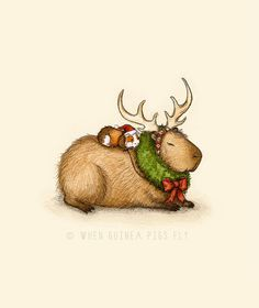 A trip to the Doctor Guinea Pig Art Print – illustration from The Guinea Pig Guide Capy Holidays – Rentierritt mit Capybara und Meerschweinchen Animals And Pets, Baby Animals, Cute Animals, Ciel Nocturne, Pet Guinea Pigs, Pig Art, Reindeer Antlers, Flying Pig, Wombat