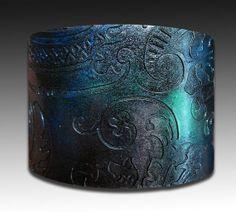 Oxidized silver indigo and green  polymer clay by adrianaallenllc, $16.00