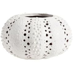 Pottery Barn Ceramic Sea Urchin Hurricane (385 MAD) ❤ liked on Polyvore featuring home, home decor, candles & candleholders, pottery barn pillar candles, seaside home decor, pottery barn lanterns, ceramic home decor and pottery barn