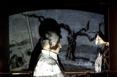 William Kentridge: Black Box/Chambre Noire, William Kentridge during preparations for Black Box/Chambre Noire, 2005. Photo: Petra Hellberg. Deutsche Guggenheim, © William Kentridge