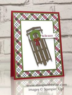 Alpine Sports Thinlits Dies, Itty Bitty Greetings, Stampin' Up! Christmas Sled, Christmas Cards 2018, Homemade Christmas Cards, Stampin Up Christmas, Xmas Cards, Handmade Christmas, Holiday Cards, Christmas Letters, Christmas Greetings
