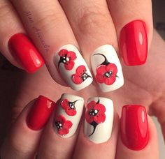 Accurate nails, Bright summer nails, Evening dress nails, Medium nails, modeling nails, Nails with poppies, Red and white nails, ring finger nails