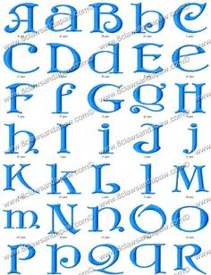 The Chantilly Lace embroidery alphabet comes in 3 different sizes. 1 Inch Satin 2 Inch Satin 3 Inch Satin 26 Upper Case Letters 26 Lower Case Letters 156 Individual Files