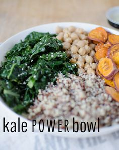 Healthy meal! Gluten free and vegan power bowl of kale, chickpeas, sweet potatoes & quinoa with a miso-caeser dressing. 16g protein per serving