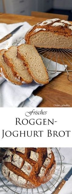Roggen-Joghurt-Brot Rye yoghurt bread is a delicious and fast mixed bread. The portion is enough for a small family or a two-person household. Pampered Chef, Rye Bread, Bread Bun, Bread Recipes, Baking Recipes, Yogurt Bread, Food Blogs, Bread Baking, Bread Food