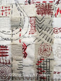 Tracey A. Franklin - woven strips of linen and cotton, embellished with contemporary hand stitch and free machine embroidery
