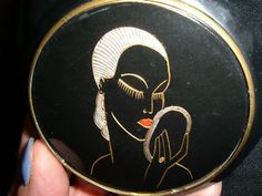 art deco vintage black french galalith rare paint metallic woman mirror compact - my mom had a compact like this