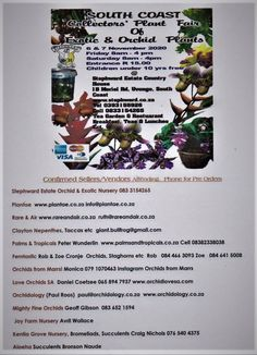 If you would like to be a vendor (Sell plants) Please contact us on Stephen 083 3154265 Howard 067 399 7387 email info@stephward.co.za This is the coming together of Plant Growers, Importers and the Public to share special plants and knowlege! Like the Antique Road Show on TV but in wonderful plants!! Rare Plants, South Africa, Orchids, Wedding Venues, Exotic, Coast, Public, Antique, Tv